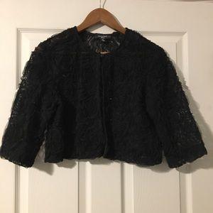 R&M Black Floral Semi-Sheer Shrug Jacket 12P